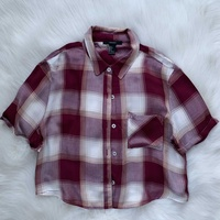 Forever21 cropped short sleeve flannel shirt
