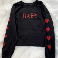 Bershka black and red printed cropped sweatshirt with embroidery