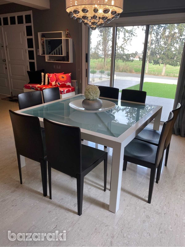 Square dining table with chairs-2