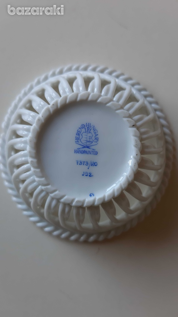 Small circular herend porcelain from hungary hand painted-2