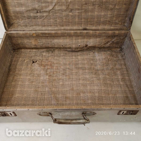 Suit case antique metal with lock and key-4