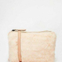 Asos faux fur double compartment handbag