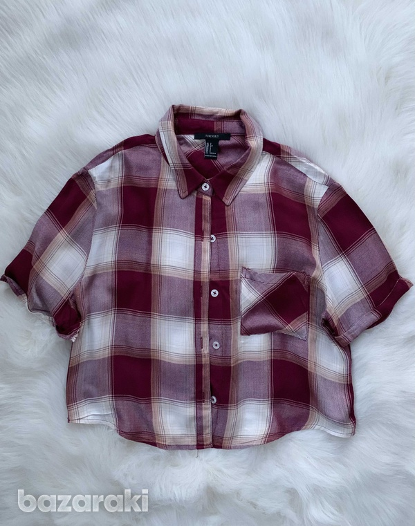 Forever21 cropped short sleeve flannel shirt-1