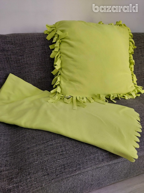 Pillow with cover and blanket in the same color