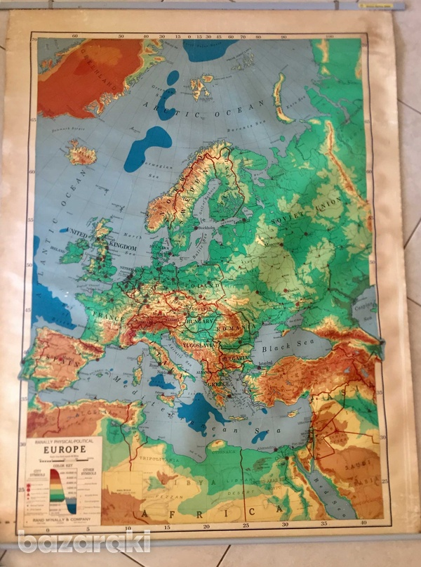 Rand mcnally vintage roll-down map of europe.-1