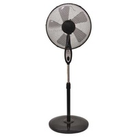 Stand fan black with control and 5 blades