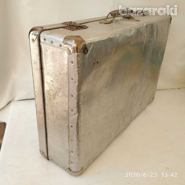 Suit case antique metal with lock and key-2