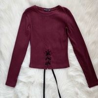 Bershka burgundy red long sleeve top with corset detail in the front