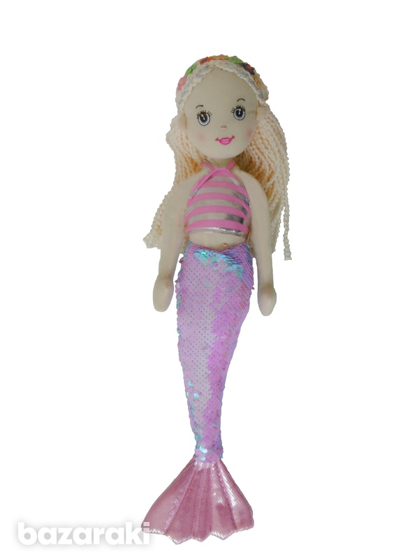 Mermaid doll pink sequins color - plush toy - κούκλα γοργόνα-2