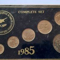 Cyprus 1985 uncirculated coin set with the 50 cents year of the forest