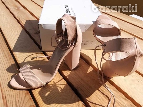 Lace up-ankle real leather sandals - in dusty pink /nude color-6
