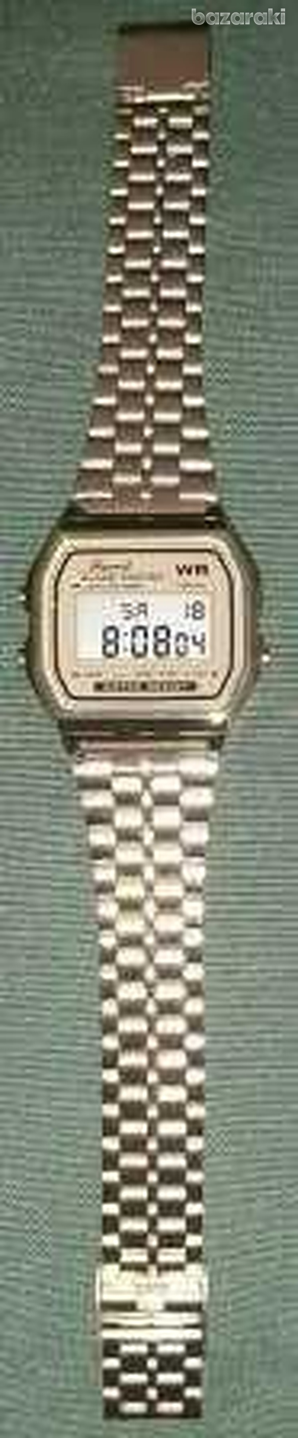 Gold colour large stainless steel lcd digital watches-2