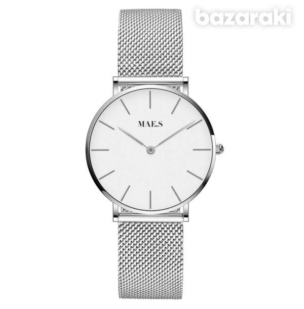 New maes silver white mesh watch
