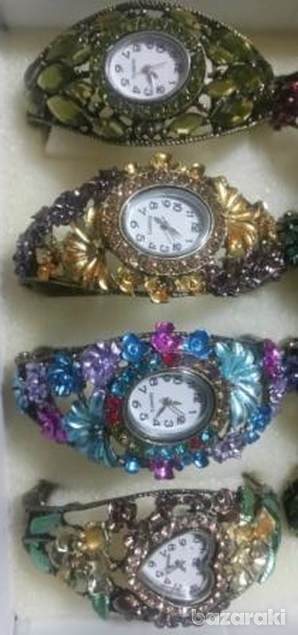 Fashion women crystal bangle bracelet rhinestone dress watch-3