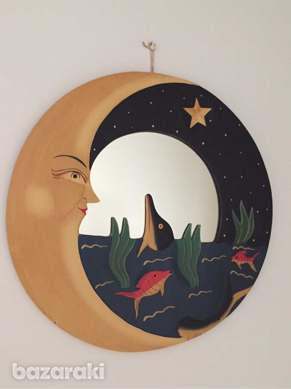 Handmade wooden moon and dolphin round mirror decoration-2