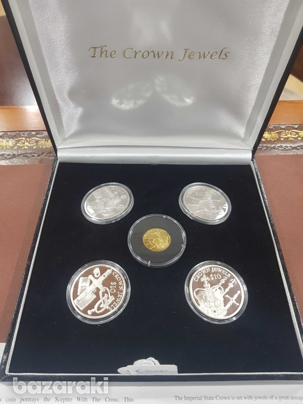 The crown silver gold coin set with diamonds-1