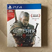 The witcher wild hunt-ps4 game with bonus content-like new condition