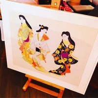 Japanese woven material with three japanese ladies