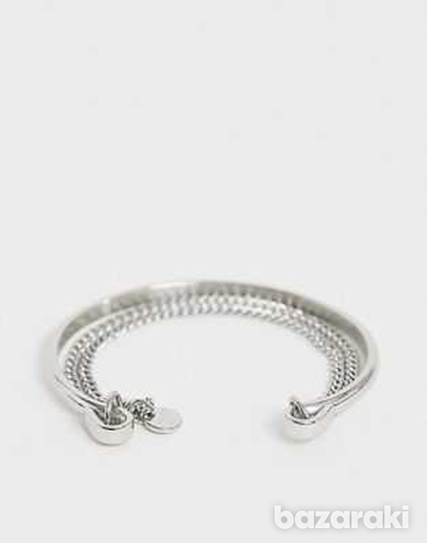 Dyrbergkern silver bangle with chain-1