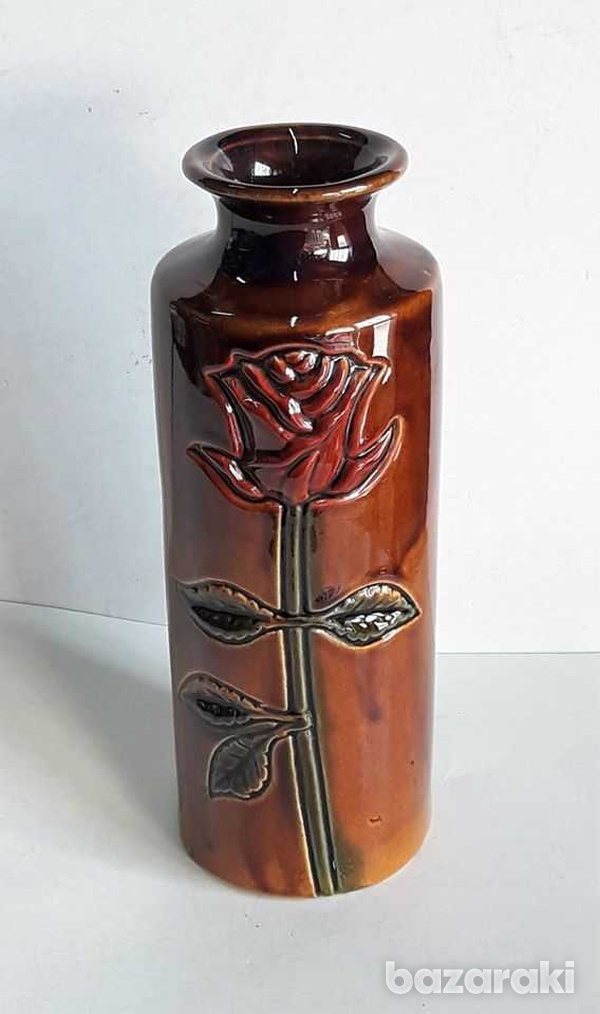 Vintage ceramic vase with rose hand made and painted 20cm high-4
