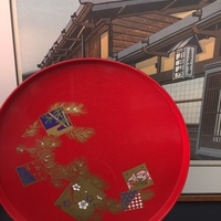 Japanese lacquer red tray 30cm