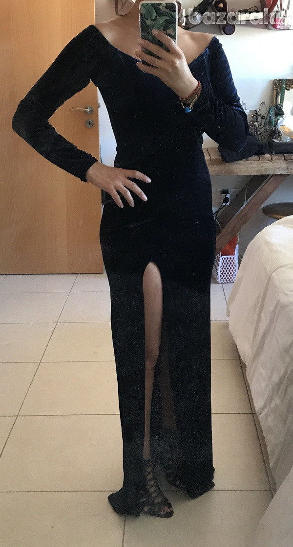 Missguided sued long dress blue xs-s-8