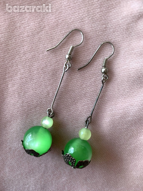 Green moon stone earrings