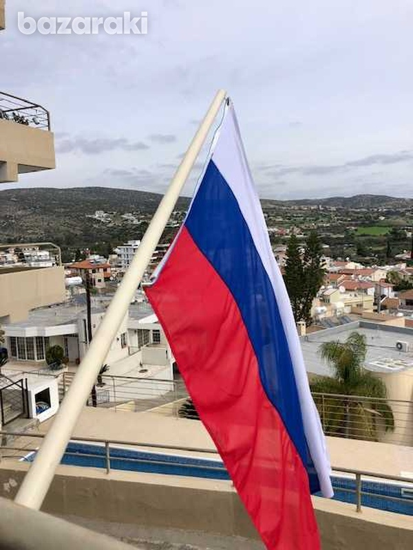 Huge russian/serbian flag 150x100 cm with a pole-4