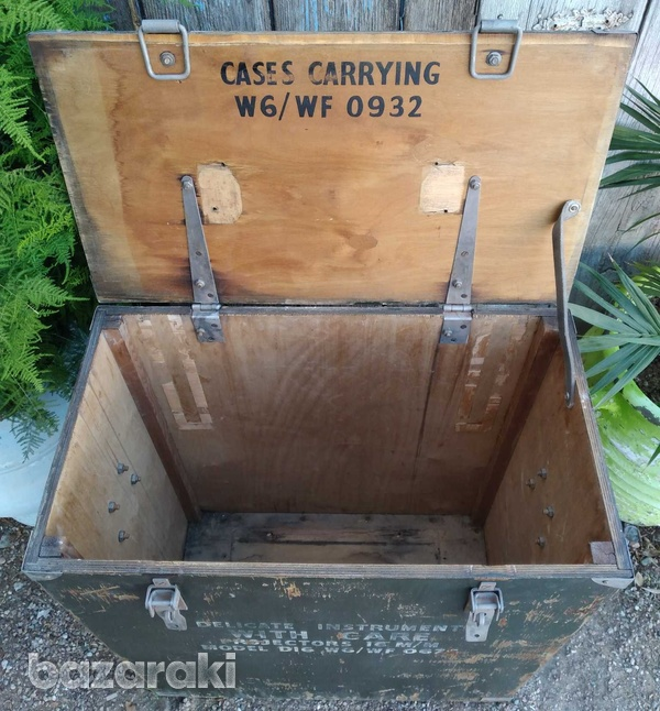 Vintage army large projector box on casters.-6