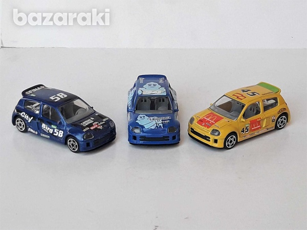 Lot of 3 burago diecast model rally cars renault clio trophy 1/43 scal-1
