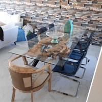 Olive wood dining table with glass top