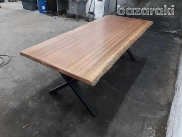 Natural african sapele wood dining table-1
