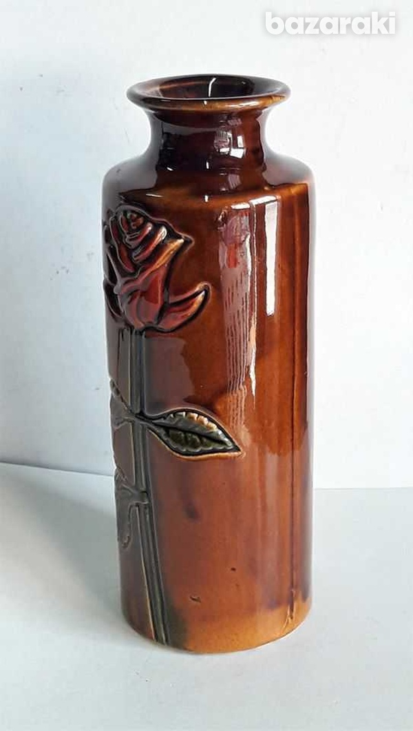 Vintage ceramic vase with rose hand made and painted 20cm high-3