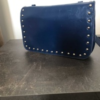 Genuine leather navy blue bag