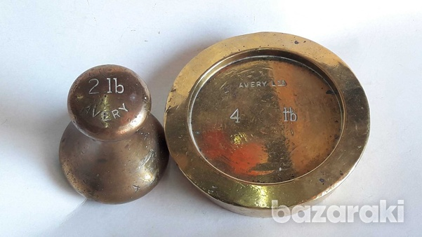 Vintage avery ltd lot of 2 brass weights 2 and 4 lb-5