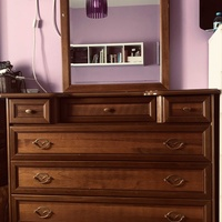 Dressing table with mirror and two matching bedside tables solid wood