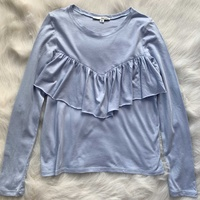 Tally weijl pastel blue long sleeve top with ruffle