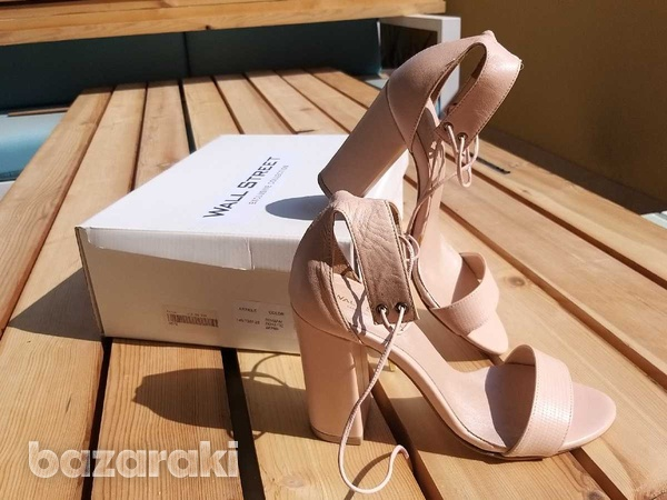 Lace up-ankle real leather sandals - in dusty pink /nude color-5