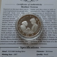 Silver coin princess diana and mother teresa in capsule and certificate