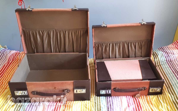 Vintage style wooden suitcase set of 3 / βαλίτσες.-5