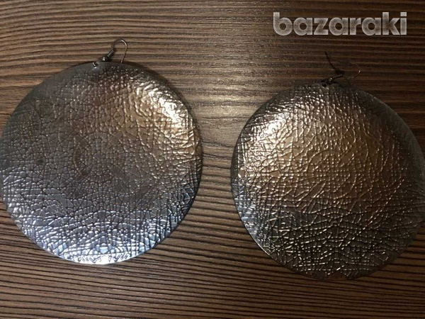Handmade silver hammered metal over-sized disc dangle earrings
