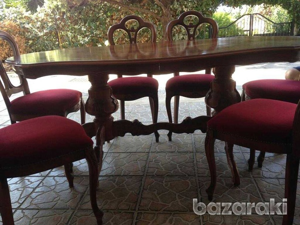 Dinning table and six chairs, coffee table, settee and 2 arm chairs.-2