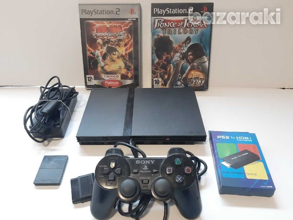 Playstation 2 slim with hdmi converter and 4 games-1