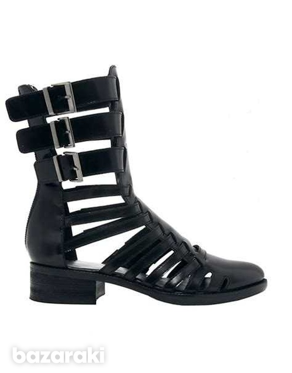 Asos black leather gladiator boots-2