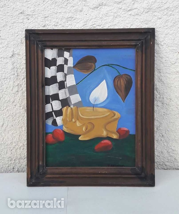 Vintage painting in wooden frame for decor or collection.-1