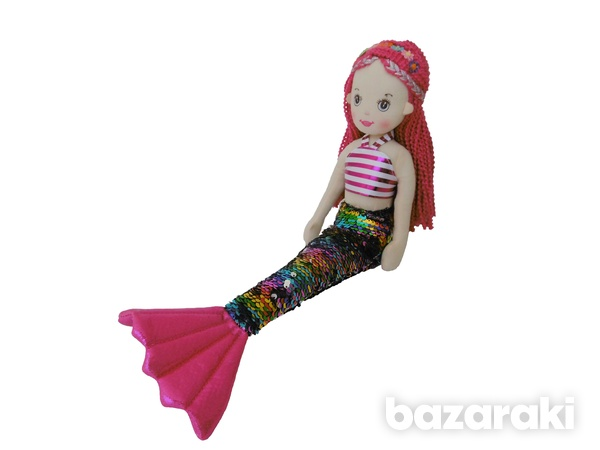 Mermaid doll multicolor sequins color - plush τoy - κούκλα γοργόνα-1