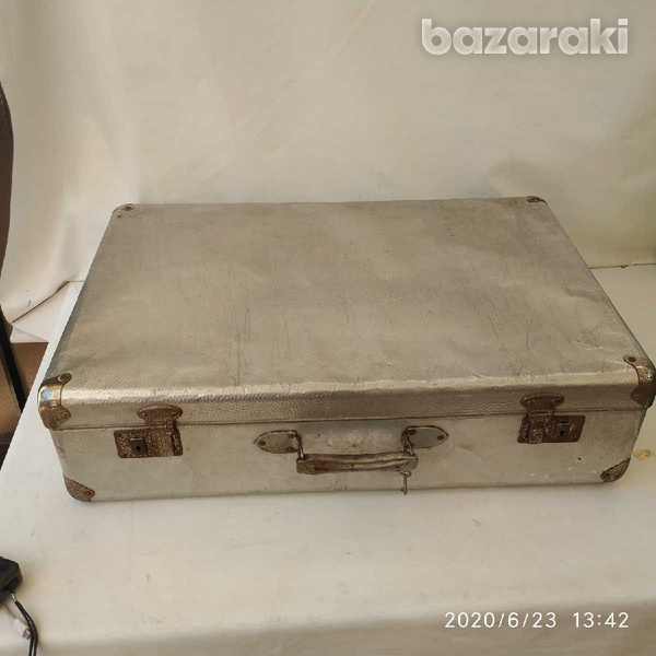 Suit case antique metal with lock and key-1