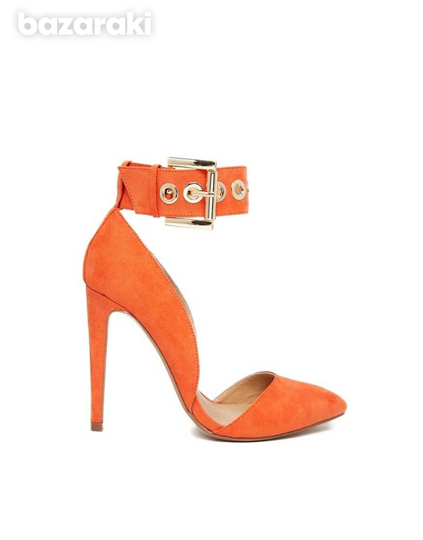 Asos coral pointed high heel shoes uk2-3