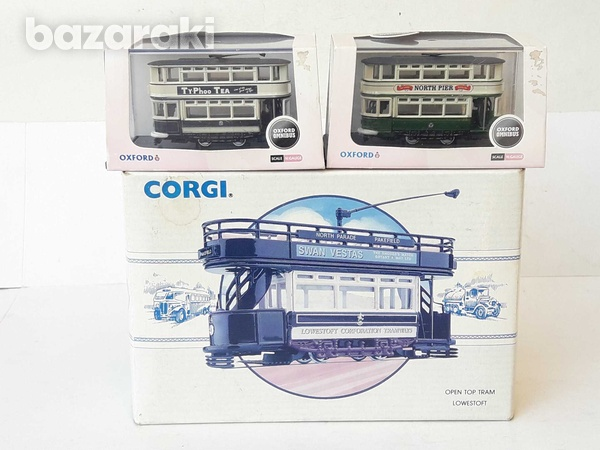 Vintage collectible lot of 3 trams corgi and oxford boxed.-8