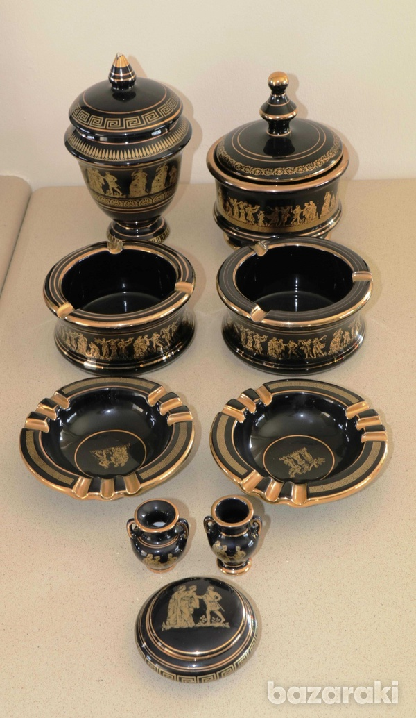 Various vintage collectibles - black with 24k gold - made in greece-1